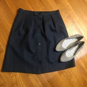 J Crew button up front skirt wool lined navy blue